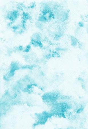 Sky watercolor background. Heaven with clouds. Shades of blue. Abstract painted backdrop. Fresco imitation.