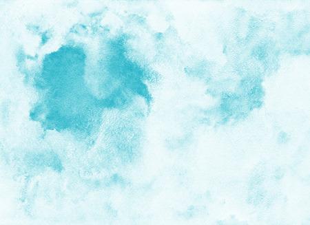 空水彩背景。雲天。青の色合い。抽象的な背景を描いた。フレスコ画の模倣。