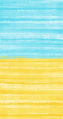 Two colored acrylic background. Sky blue and yellow. Desert or summer beach illustration backdrop. Hand drawn texture with brush streaks or stripes.