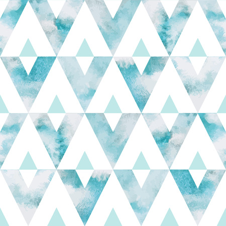 Cloudy sky triangles seamless vector pattern. Geometrical background. Watercolor heaven with clouds. Blue sky, shades of white. Painted backdrop. Fresco imitation.