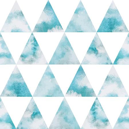cielo: Cielo nublado tri�ngulos vector patr�n sin fisuras. Fondo geom�trico. El cielo de la acuarela con las nubes. Cielo azul, tonos de blanco. Pintado tel�n de fondo. Imitaci�n Fresco.