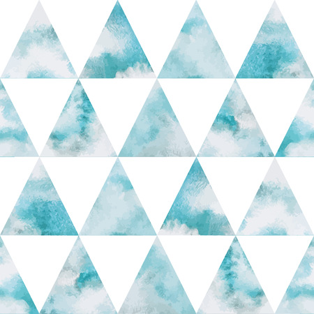 heaven background: Cloudy sky triangles seamless vector pattern. Geometrical background. Watercolor heaven with clouds. Blue sky, shades of white. Painted backdrop. Fresco imitation.
