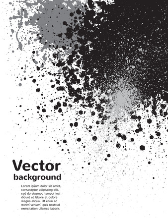sputter: Monochrome abstract vector background. Black and grey blots and splashes on white backdrop. Hand drawn template. Illustration
