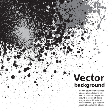Monochrome abstract vector background. Black and grey blots and splashes on white backdrop. Hand drawn template. 向量圖像