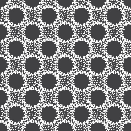sputter: Abstract seamless vector pattern. Grunge splash texture forming circles. Monochrome. Hand drawn spots or stains. Black and white. Illustration