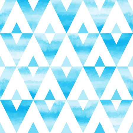 cielo: Cielo azul triángulos acuarela sin fisuras vector patrón abstracto. Dibujado a mano textura. Cielo o el fondo el cielo.