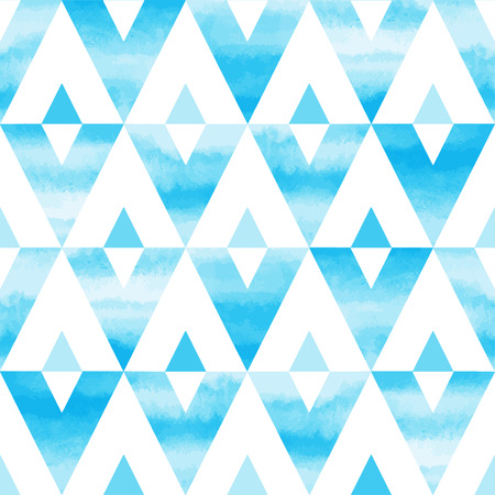 Sky blue watercolor triangles abstract seamless vector pattern. Hand drawn texture. Sky or heaven background. Иллюстрация