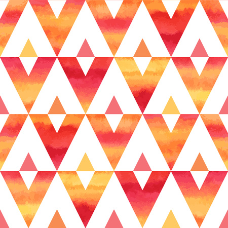 red sunset: Watercolor triangles abstract seamless vector pattern. Fire or sunset tropical bright colors - red, orange, pink, yellow. Hand drawn texture.