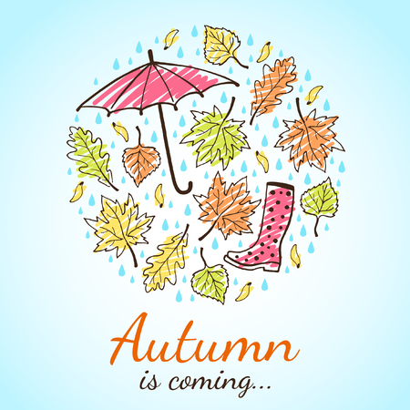 vector pattern: Autumn is coming illustration. Circle shape. Various leaves, maple seeds, raindrops, umbrella and rubber boot. Hand drawn ink outline with artistic colorful hatching. Round composition with lettering.