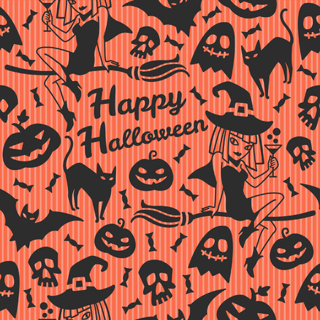 joven sentado: Happy Halloween seamless vector pattern with greeting. Black silhouettes on orange striped background. Witch girl sitting on a broom and surrounded cute halloween characters. Halloween background.