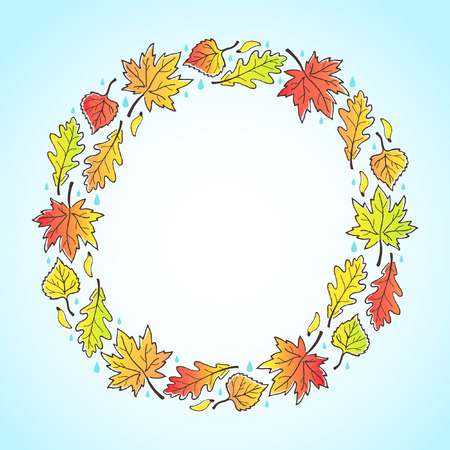 sky background: Autumn round decorative frame with space for text. Circle made of leaves, maple seeds and raindrops. Fall background. Illustration