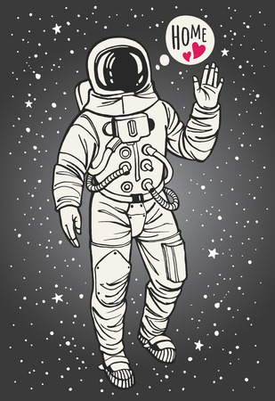 farewell: Astronaut thinking of home with raised hand in salute. Speech bubble with lettering and hearts. Space with stars background. Hand drawn illustration.