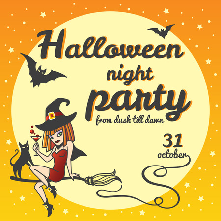 date night: Halloween party invitation. Cartoon style witch girl sitting on a broom with cat, holding potion or cocktail. Halloween night party lettering with date. Moon with bats silhouettes.