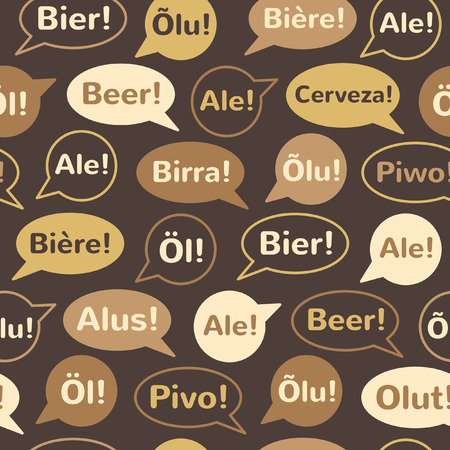 repeating background: Beer seamless vector pattern. Speech bubbles with word BEER in different languages: english, french, german, italian, spanish, polish, finnish, czech, swedish etc. Flat design. Illustration