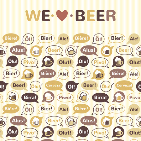 speaking bubble: Background pattern or horizontal border with We love BEER lettering. Speech bubbles, beer mug and word BEER in different languages: english, french, german, italian, spanish, swedish etc. Flat design.
