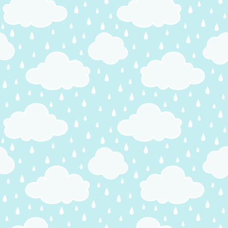 Blue sky with clouds and rain vector seamless pattern. Autumn background.