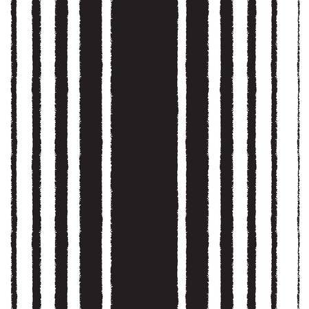 width: Black and white vector seamless pattern. Black stripes of different width on white backdrop. Brush drawn - rough, artistic edges. Striped monochrome background. Illustration