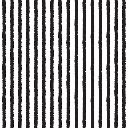 black lines: Brush stripes vector seamless pattern. Black stripes on white backdrop. Striped monochrome background. Rough edges.