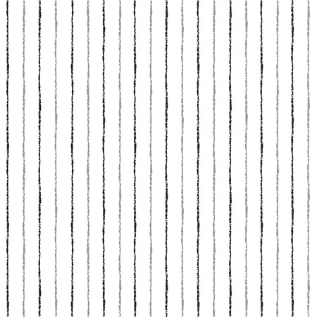 Brush stripes vector seamless pattern. Thin black and grey stripes on white backdrop. Striped monochrome background.