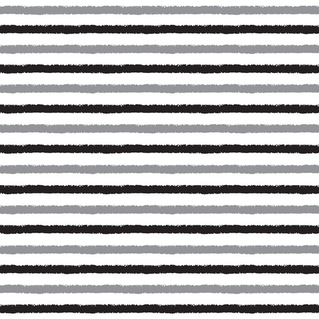 gray pattern: Brush drawn stripes vector seamless pattern. Black and grey stripes on white backdrop. Striped monochrome background. Rough edges. Illustration