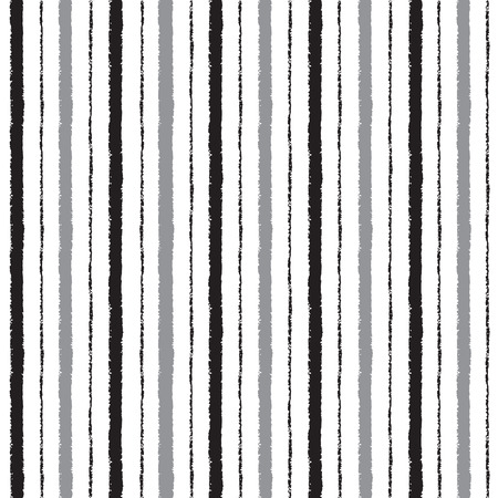 edges: Brush drawn stripes vector seamless pattern. Black and grey stripes on white backdrop. Striped monochrome background. Rough edges. Illustration