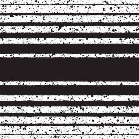sputter: Black and white vector seamless pattern. Black stripes of different width on white backdrop and splash grunge texture. Brush drawn - rough, artistic edges. Striped monochrome background.