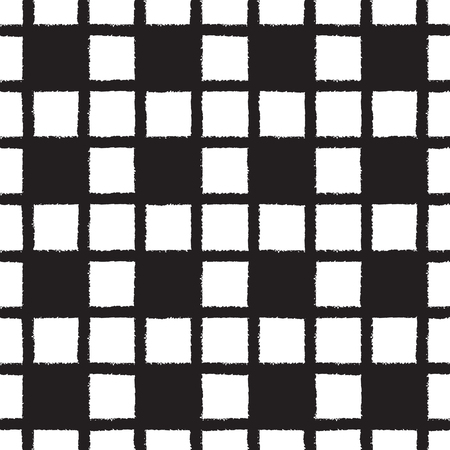 stripes seamless: Black and white checked, square, plaid vector seamless pattern. Vertical and horizontal brush stripes with chess squares. Chequered monochrome background. Rough edges.