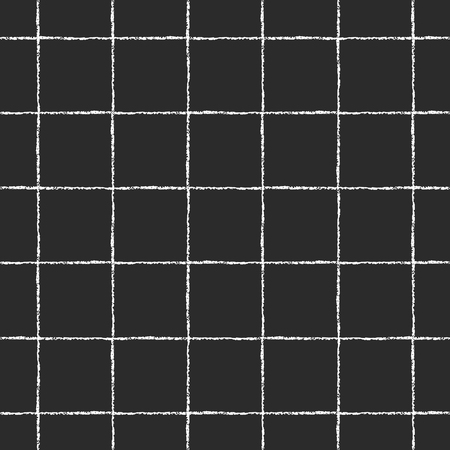 Black and white checked, square, plaid vector seamless pattern. Vertical and horizontal thin white brush stripes on black backdrop. Chequered monochrome geometrical background. Rough edges.
