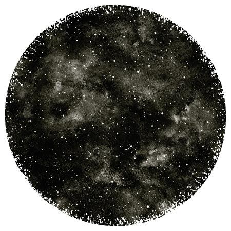 ラウンド黒と白の手には、水彩夜空の星が描かれました。円形。モノクロの宇宙背景。黒の水彩汚れとスプラッシュのテクスチャです。大まかな、