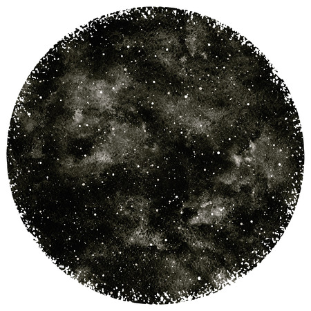 Round black and white hand drawn watercolor night sky with stars. Circle shape. Monochrome cosmic background. Splash texture with black watercolour stains. Rough, artistic edges. Stockfoto