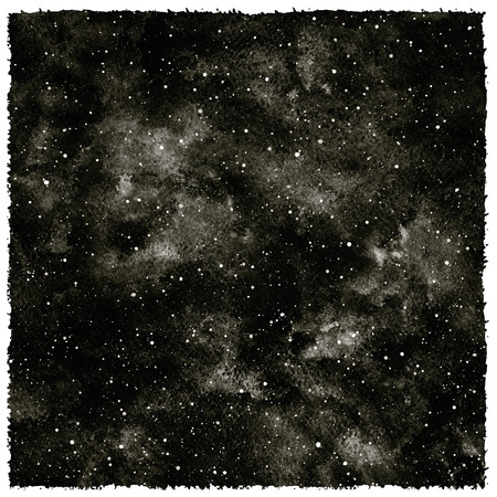 night sky stars: Black and white hand drawn watercolor night sky with stars. Monochrome cosmic background. Splash texture with black watercolour stains. Rough, artistic edges.