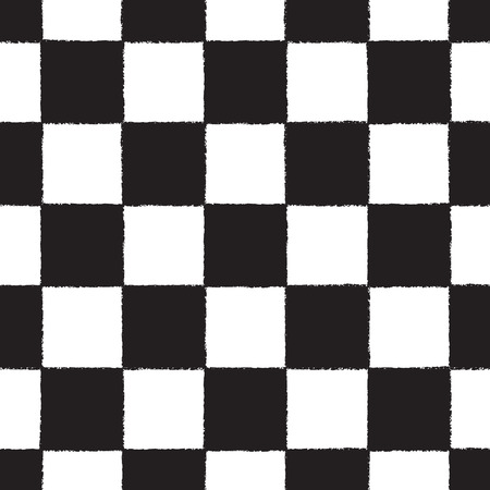 checkerboard: Black and white chess or checkers board vector seamless pattern. Checkerboard geometrical ornament. Brush drawn squares with rough edges. Chequered monochrome geometrical background.