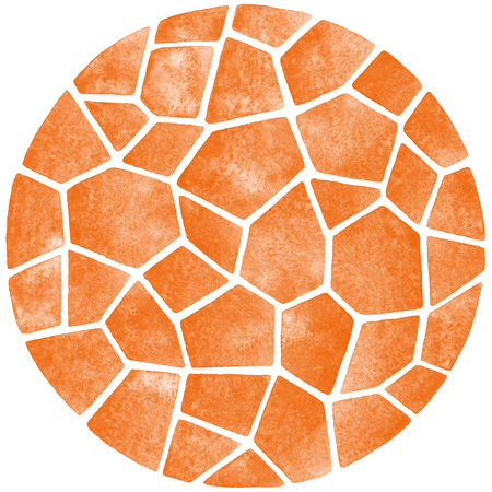 inlay: Round polygonal mosaic circle. Abstract watercolor template. Ceramic tile or inlay stylization.
