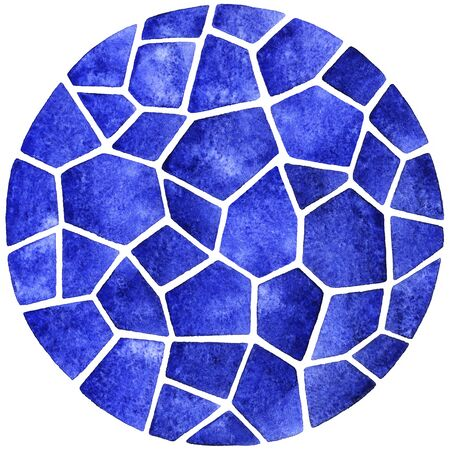 inlay: Abstract watercolor template. Round polygonal mosaic pattern, similar to sea wave ripple. Ceramic tile or inlay stylization. Circle shape.