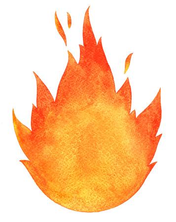 llamas de fuego: El fuego de la acuarela. Lenguas de fuego con espacio para el texto. Dibujado a mano ardiente hoguera silueta con chispas.