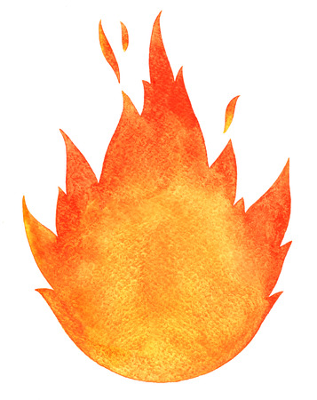 Watercolor fire. Tongues of flame with space for text. Hand drawn burning bonfire silhouette with sparks.