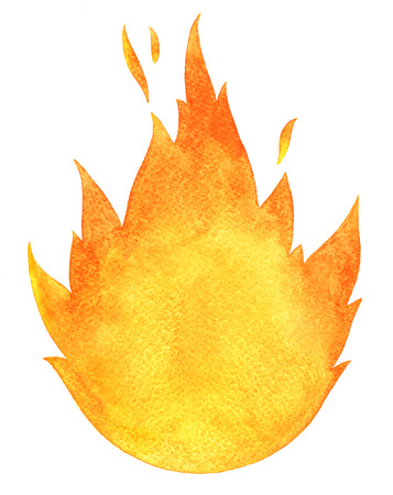 conflagration: Watercolor fire. Tongues of flame with space for text. Hand drawn burning bonfire silhouette with sparks.