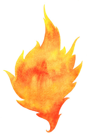 conflagration: Watercolor fire. Tongue of flame with space for text. Hand drawn burning fire silhouette with sparks. Stock Photo