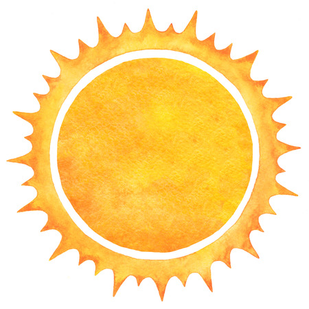 sunny season: Watercolor sun with spiked crown isolated on white backdrop. Fire circle frame. Sun shape or flame border with space for text. Orange and yellow circle silhouette with rough edges. Raster version. Stock Photo