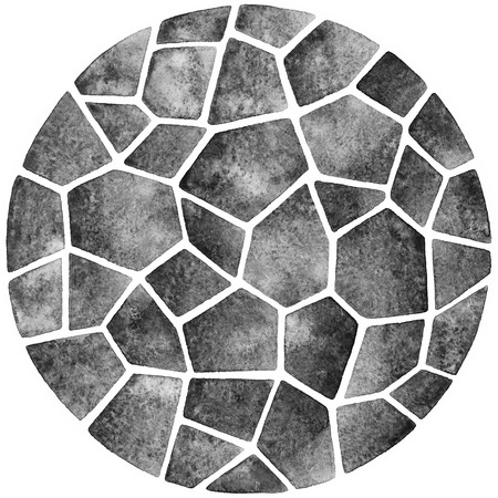 gray: Grey abstract watercolor template. Round polygonal mosaic pattern. Ceramic tile or inlay stylization. Circle shape. Monochrome background.