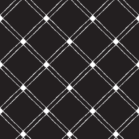 Black and white checked, square, plaid vector seamless pattern. Crossing diagonals, brush drawn. Hand drawn geometrical background.