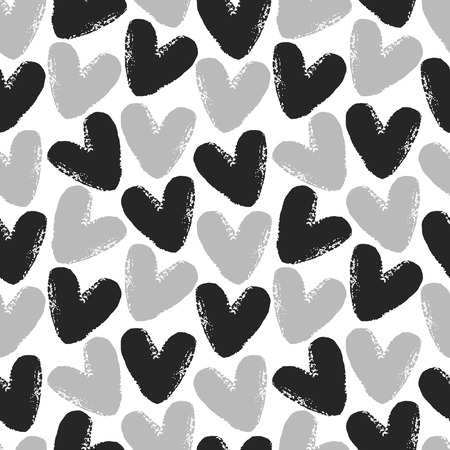 edge: Monochrome hearts seamless vector pattern. Black and grey on white background. Brush drawn - rough, artistic edges.