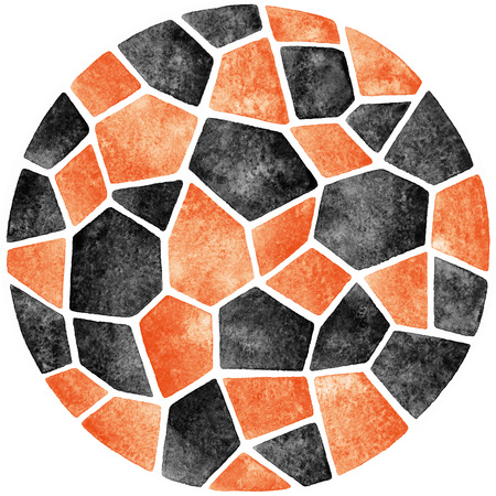 inlay: Black and orange abstract watercolor template. Round polygonal mosaic pattern. Ceramic tile or inlay stylization. Circle shape. Geometrical background.