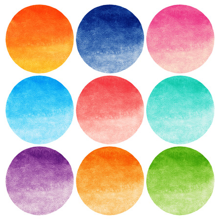 Set of colorful watercolor vector gradient circles isolated on white. Flame or sunset colors, red, orange, blue, green, lilac, pink gradient fill. Round silhouette. Rough edges.