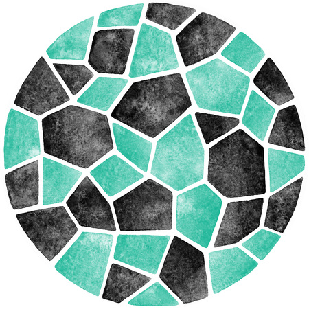 inlay: Black and mint green abstract watercolor template. Round polygonal mosaic pattern. Ceramic tile or inlay stylization. Circle shape. Geometrical background.
