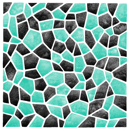 inlay: Black and mint green abstract square watercolor background. Polygonal mosaic pattern. Ceramic tile or inlay stylization. Geometrical background.