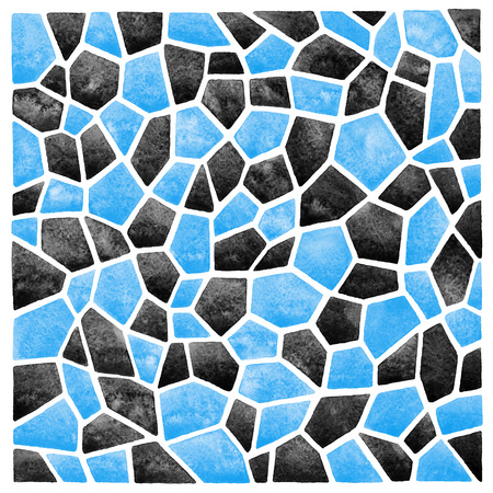 inlay: Black and blue abstract square watercolor background. Polygonal mosaic pattern. Ceramic tile or inlay stylization. Geometrical background.