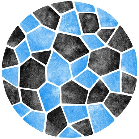 inlay: Black and blue abstract watercolor template. Round polygonal mosaic pattern. Ceramic tile or inlay stylization. Circle shape. Geometrical background.