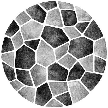 inlay: Monochrome abstract watercolor template. Round polygonal mosaic pattern. Ceramic tile or inlay stylization. Circle shape. Black and grey geometrical background.