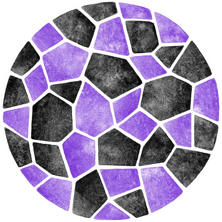 inlay: Black and violet abstract watercolor template. Round polygonal mosaic pattern. Ceramic tile or inlay stylization. Circle shape. Geometrical background.